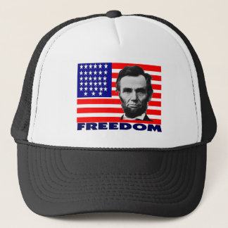 """Abe Lincoln """"Freedom"""" Flag Art Gifts--Unique Trucker Hat"""