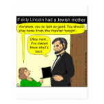 Abe Lincoln Needed a Jewish Mother - Cartoon Post Cards