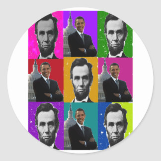 Abe Lincoln Obama . Popart Gifts Sticker