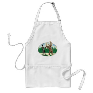 ABE LINCOLN: SASQUATCH HUNTER - Funny Bigfoot Logo Adult Apron
