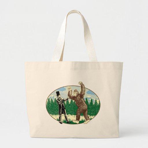 ABE LINCOLN: SASQUATCH HUNTER - Funny Bigfoot Logo Tote Bags