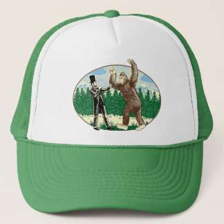 ABE LINCOLN: SASQUATCH HUNTER - Funny Bigfoot Logo Trucker Hat