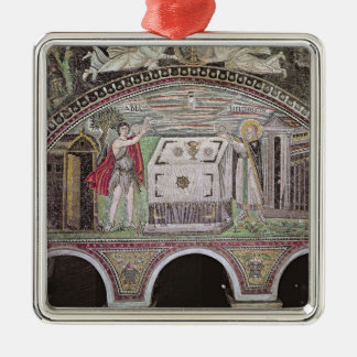 Abel and Melchisedech offering at the Altar Silver-Colored Square Decoration