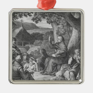 Abelard lecturing in the deserted Champagne Silver-Colored Square Decoration