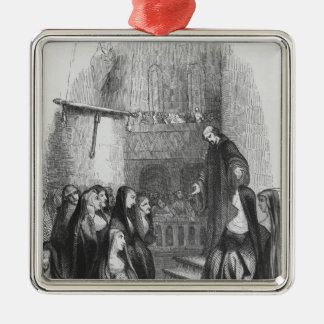 Abelard preaching at Paraclete Silver-Colored Square Decoration