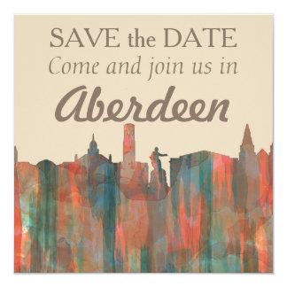 ABERDEEN, SCOTLAND SKYLINE - NAVAHO 13 CM X 13 CM SQUARE INVITATION CARD