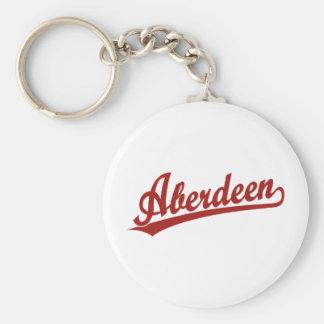 Aberdeen script logo in red basic round button key ring