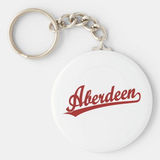 Aberdeen script logo in red key ring
