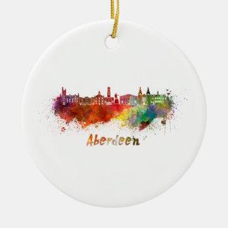 Aberdeen skyline in watercolor christmas ornament