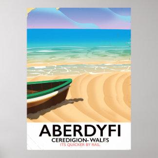 Aberdyfi, Ceredigion Wales vintage travel poster