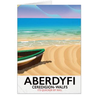 Aberdyfi, Ceredigion Wales vintage travel poster Card
