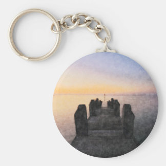 Aberystwyth Sea Front Basic Round Button Key Ring