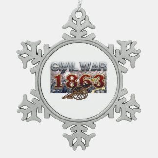 ABH Civil War 1863 Pewter Snowflake Decoration
