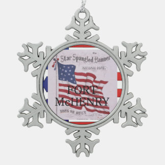 ABH Fort McHenry Snowflake Pewter Christmas Ornament