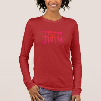 "Abhaya (""Fearlessness"") Sanskrit Devanagari Script Long Sleeve T-Shirt"