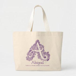 Abigail A doodle monogram tote bag