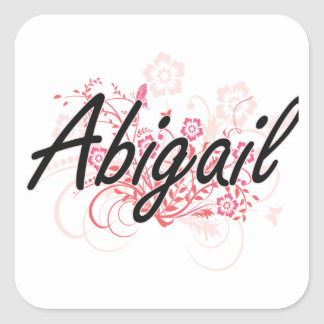 Abigail Artistic Name Design with Flowers Square Sticker
