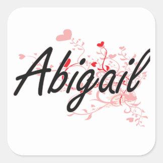 Abigail Artistic Name Design with Hearts Square Sticker