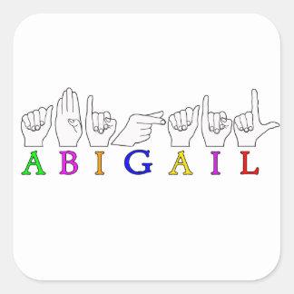 ABIGAIL NAME ASL FINGERSPELLED SIGN SQUARE STICKER
