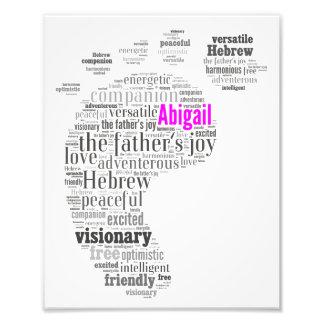 Abigail Name History and Description Word Art Photo Print