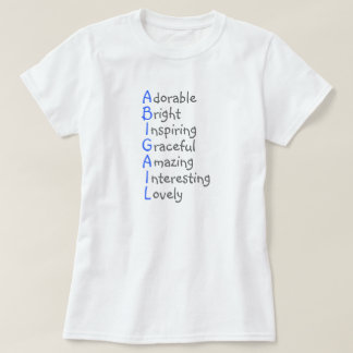 Abigail Personalized Blue Acrostic with Virtues T-Shirt