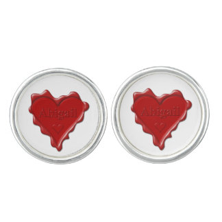 Abigail. Red heart wax seal with name Abigail Cuff Links