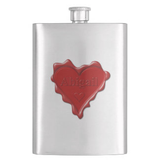 Abigail. Red heart wax seal with name Abigail Hip Flask