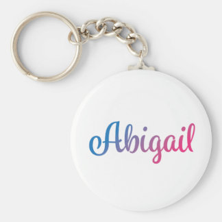 Abigail Stylish Cursive Basic Round Button Key Ring