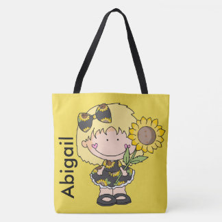 Abigail's Personalized Sunflower Tote Bag