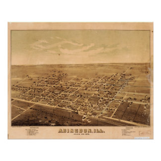 Abingdon Illinois 1874 Antique Panoramic Map Posters