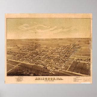 Abingdon Illinois 1874 Antique Panoramic Map Posters