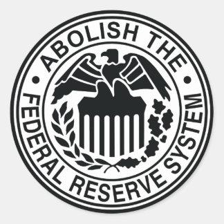 Abolish The Federal Reserve Round Sticker