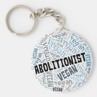 """Abolitionist Vegan"" Word-Cloud Mosaic Key Ring"
