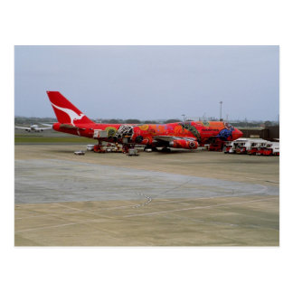 Aboriginal art, Quantas 747, Kingsford Smith Airpo Postcard