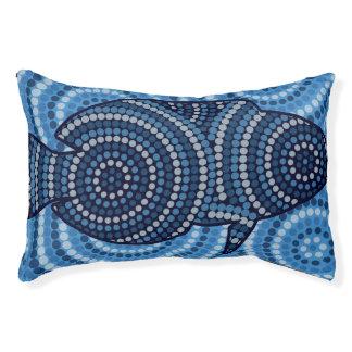 Aboriginal fish dot painting pet bed