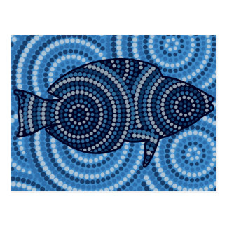 Aboriginal fish dot painting postcard
