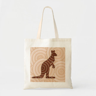 Aboriginal kangaroo dot painting tote bag