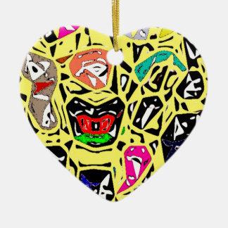 Aboriginal Surreal Yellow Ceramic Heart Decoration
