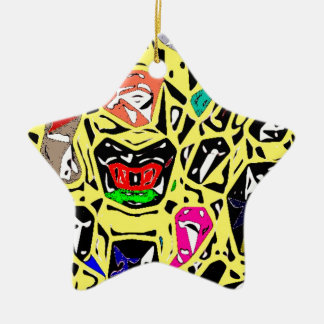 Aboriginal Surreal Yellow Ceramic Star Decoration