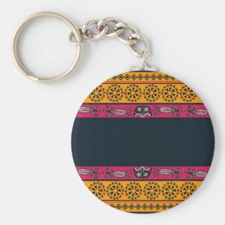 Aboriginal Tribal Pink and Orange Art Basic Round Button Key Ring