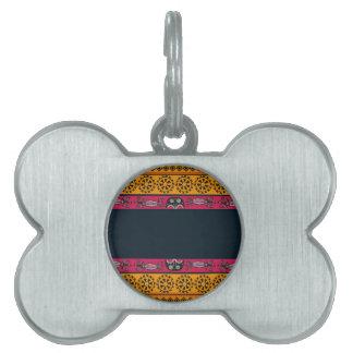 Aboriginal Tribal Pink and Orange Art Pet Name Tag