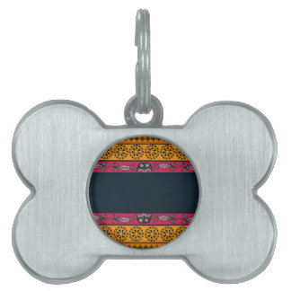 Aboriginal Tribal Pink and Orange Art Pet Name Tags