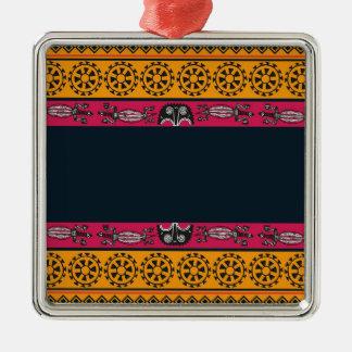 Aboriginal Tribal Pink and Orange Art Silver-Colored Square Decoration