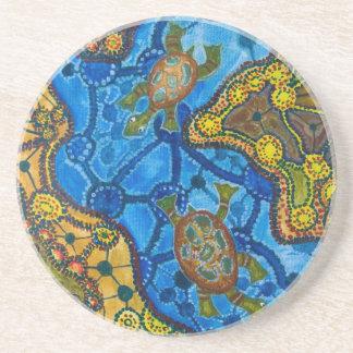 Aboriginal Turtles Painting Coaster