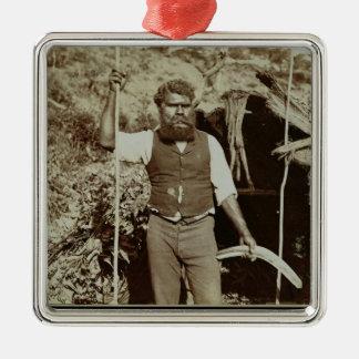 Aborigine with a Boomerang, c.1860s (sepia photo) Christmas Ornament