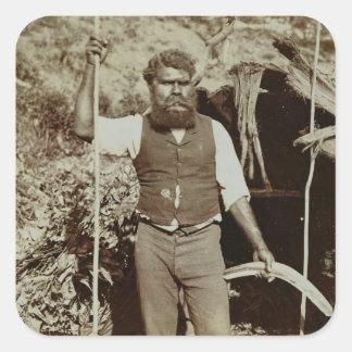 Aborigine with a Boomerang, c.1860s (sepia photo) Square Sticker