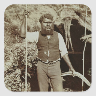 Aborigine with a Boomerang c 1860s sepia photo Stickers