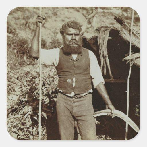 Aborigine with a Boomerang, c.1860s (sepia photo) Stickers