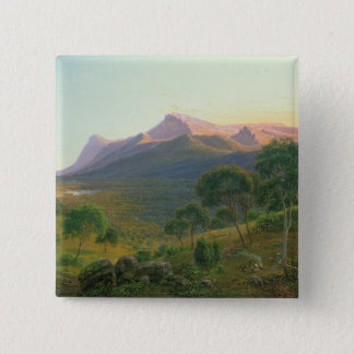 Aborigines by a Fire before Mount William 15 Cm Square Badge