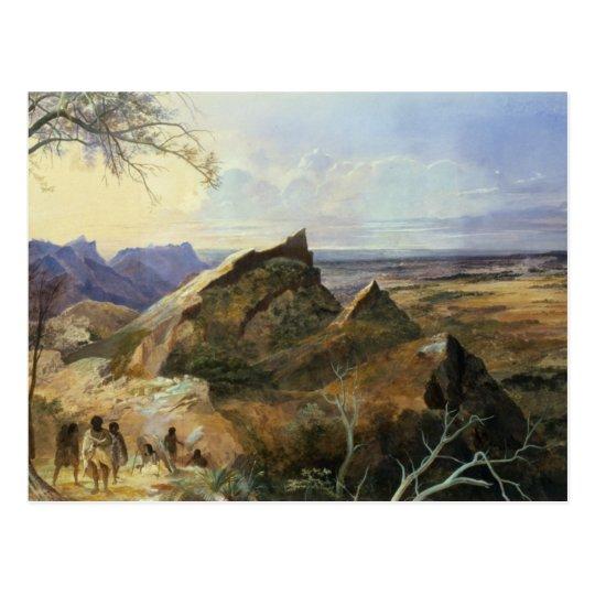 Aborigines in an Australian Landscape Postcard